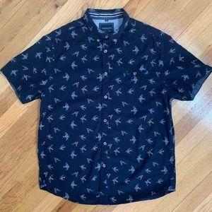 Denim & Flower sparrow bird slim fit cotton shirt